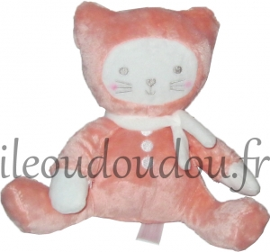 Chat peluche rose et blanc Tex Baby