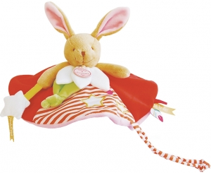 Doudou lapin rouge et blanc luminescent Magic DC3031 Doudou et compagnie