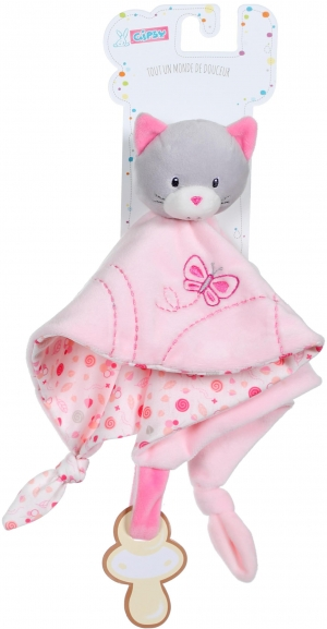 Doudou chat rose et blanc Gipsy