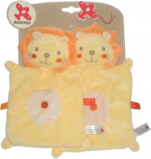 Doudou lion plat carré jaune et orange C&A Nicotoy
