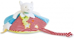 Doudou mouton bleu vert rouge luminescent Magic DC3032 Doudou et compagnie