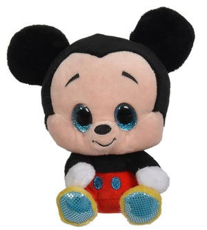 Peluche Mickey noir et rouge à grands yeux Disney Baby, Nicotoy, Simba Toys (Dickie)