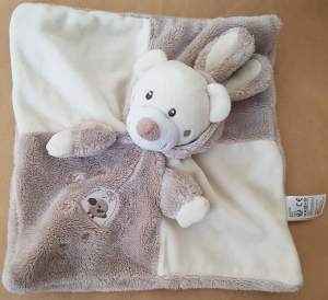 Doudou ours plat beige et blanc crème capuche lapin Simba Toys (Dickie), Nicotoy