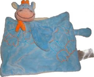 Doudou dragon plat carré rectangle bleu et orange Bengy, Kitchoun - Kiabi