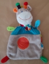 Doudou girafe plat gris et bleu rectangle Nicotoy
