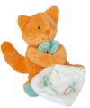 Peluche chat orange et vert tenant un mouchoir - BN047 Baby Nat