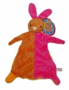 Doudou plat lapin orange et rose Toi-Toys Marques diverses