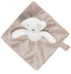 Doudou ours marron et blanc carré attache sucette Grain de blé