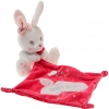 Peluche lapin blanc, mouchoir rose fushia Happy night Simba Toys (Dickie) - Nicotoy