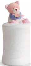 Plaid chat rose blanc violet DC3054 Doudou et compagnie