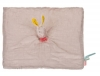 Doudou plat lapin beige, gris, jaune et rose *Mademoiselle et ribambelle* Moulin Roty