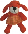 Peluche chien rouge orange robe vichy Jemini
