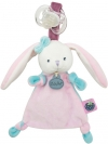 Doudou lapin rose Berry attache sucette BN0240 Baby Nat