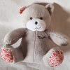 Peluche ours gris tissu liberty Mustela Musti - Marques pharmacie