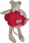 Peluche Nini la souris grise robe rouge Moulin Roty